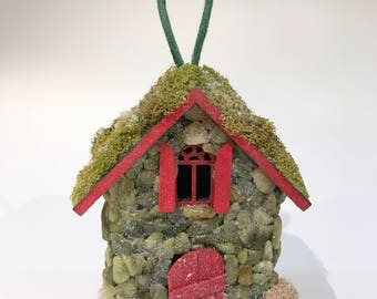 Fairy House Ornament in Green and Red