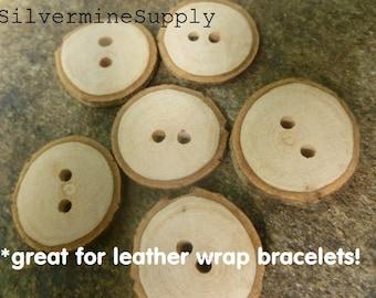 6 Handmade Natural Sourwood Wooden Buttons