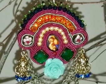 Soutache Necklace/Brooch, Soutache Upcycled Necklace/Brooch, Soutache Handmade Hand Embroidered Necklace/Brooch, Soutache Multicoloured