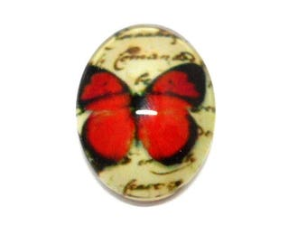 Glass red Butterfly 18 x 13