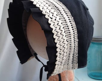 baby bonnet, black, with vintage handmade lace
