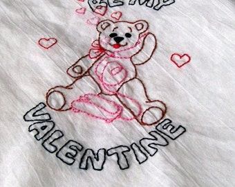 Dish Towel, Hand Embroidery, Be My Valentine, Valentine Towel, Valentine Bear, kitchen towel hand embroidery