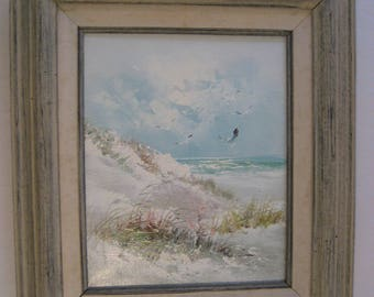 vintage original framed oil painting seascape