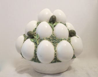RARE ~ Basket of Eggs and Olives ~ Made in Italy