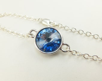 Light Blue Bracelet Sterling Silver Chain Bracelet Crystal Light Sapphire Pale Blue Sky