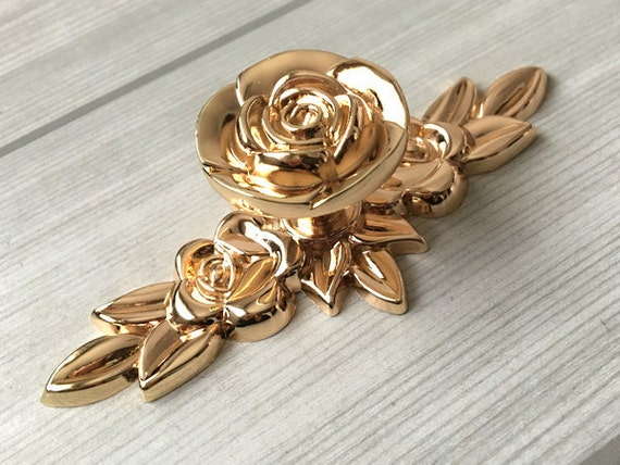 Shabby Chic cómoda tiradores pomos manijas oro rosa / flor cocina ...