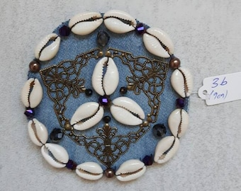 Large blue based cowry shell, crystal & brass filigree medallion for ATS or tribal fusion bellydance, DIY component, ca 9 cm, made to order