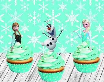 INSTANT DOWNLOAD Frozen cupcakes toppers instant download, Frozen  birthday, Toppers , Frozen Party Toppers, Elsa, Anna, Olaf