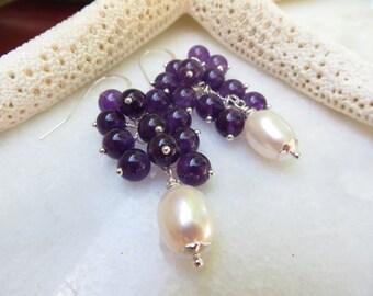 Amethyst Earrings, Pearl Earrings, Amethyst Semi Precious Gemstone, February June Birthstone Earrings, Sterling Silver Cluster Pearl Earring