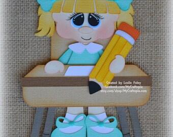 School Sitting Girl Premade Scrapbooking Embellishment Paper Piecing