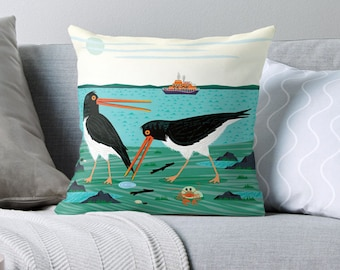 """The Oystercatchers - Throw Pillow / Cushion Cover (16"""" x 16"""") by Oliver Lake / iOTA iLLUSTRATION"""