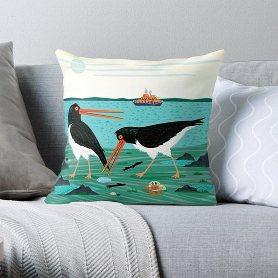 "The Oystercatchers - Throw Pillow / Cushion Cover (16"" x 16"") by Oliver Lake / iOTA iLLUSTRATION"