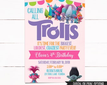 Trolls Invitation, Trolls Birthday Invitation, Digital Trolls Invitation