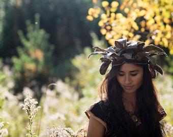 Ancestry Cloth Headdress - One of a Kind Wearable Fine Art by Dawn Patel Art, fiber art, flower crown, costume, ornate accessories