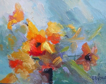 """Abstract Floral, Flower Painting, Original Oil Painting, 6x8"""" on canvas panel, Free shipping in US"""