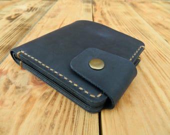 Bifold leather wallet, Bi fold wallet, Mens bifold wallet, Leather bifold wallet, Blue wallet, Blue leather wallet, Blue wallet mens