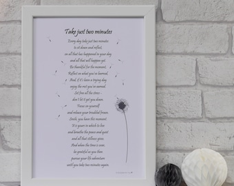 Mindfulness Print, Poetry Print, Meditation Print, Dandelion Print, Yoga Print, Gift for Mum, Mother's Day Gift, Valentine's Gift for Her