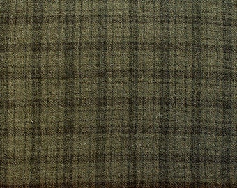 Muted Green Plaid -  Felted Wool Fabric Yard in 100% Wool in a Fat Eighth or Fat Quarter Yard