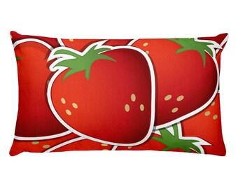 Strawberry pillow, food pillow, fruit pillow, red strawberry pillow