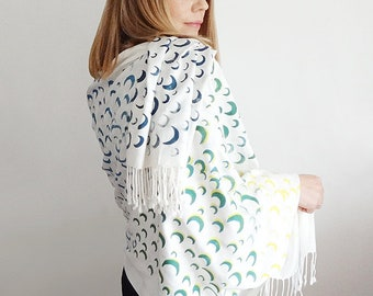 Many Moons Scarf - Blue/Mustard