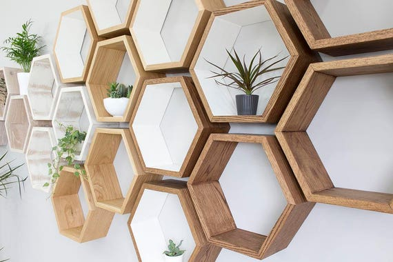hexagon wall shelves handmade in solid oak solid oiled oak. Black Bedroom Furniture Sets. Home Design Ideas