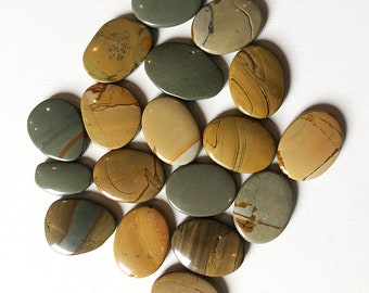 30 x 40mm Smooth Flat Oval Wild Horse Picture Jasper Beads