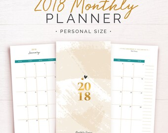 2018 Monthly Planner Inserts • Personal Size PRINTABLE •Monthly Diary • Mo2p • Monthly Calendar • 2018 Dated Planner Agenda Kikki K Medium