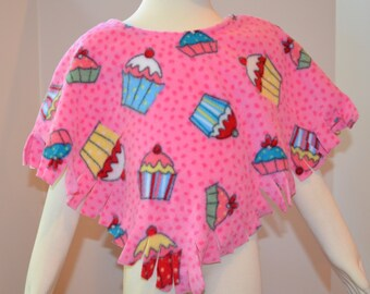 Girl's Fleece Poncho.  Toddler Poncho in Cupcake Print Fleece