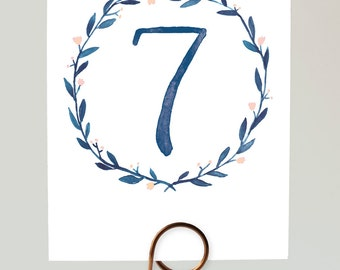 Watercolor Wreath Table Numbers, Blue Wreath Table Numbers, Blue Table Numbers, Navy Wedding Table Numbers, Navy Watercolor Table Numbers