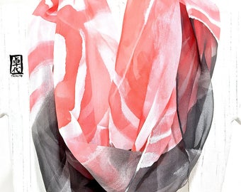 Silk Scarf, Loop Scarf, Infinity Scarf, Handmade Gift for Mom, Handpainted Scarf, Silk Scarf Painting, Black and Red Zen Wave, Made to order