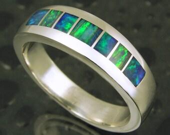 Handmade Australian Opal Ring in Sterling Silver by Mark Hileman