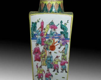 A Chinese Beautiful Yellow Porcelain Vase Flower Pattern Chinese Character
