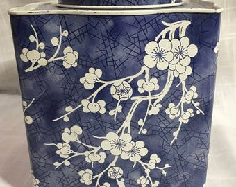 """VINTAGE Blue with White Cherry Blossom Flowers """"TIN BOX"""" made in England"""