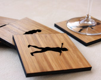 March of Progress, Evolution Man Coasters, Set of 5 in Amber Bamboo Wood