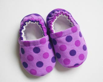 Purple polka dots and stripes  baby/toddler cotton slippers. Grip tight soles for 9 months up. Made to order.