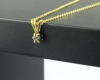 Rough Diamond Necklace - 14K Gold Filled Six prong Pendant - Black Raw Uncut Diamond - April Birthstone