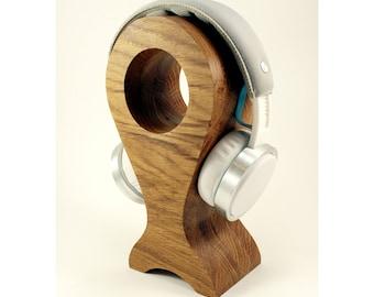 Wood headphone stand Desk headphone holder Music gift for him Wood headset stand Modern headphone stand Gaming headset holder Husband gift