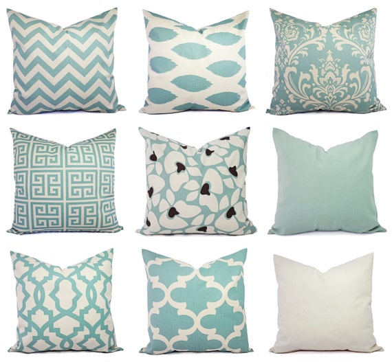 Spa Blue And Beige Pillow Cover One Blue Throw Pillow Cover