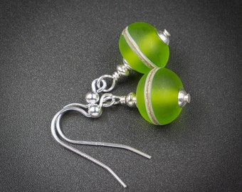 Green lampwork earring lime silver lampwork earrings lime green and sterling silver handmade lampwork glass and sterling silver drop earring