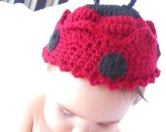 147 PDF Ladybug Crown Beanie Crochet Pattern