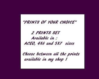 Set of prints, two prints, choice, custom, customized, print of your choice, fantasy art, art prints, customized set of prints, custom print