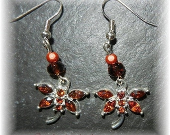 Brown rhinestone with magic beads and Crystal Dragonfly earrings