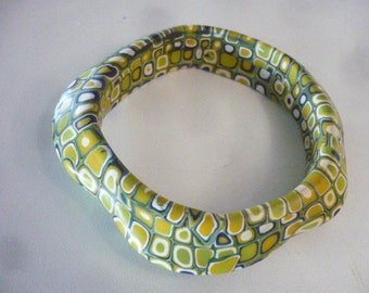 Polymer Clay Green And Yellow Bracelet, Bangle Bracelet, Green Jewelry, Art Deco Jewelry, One Size Fits Most, Polymer Clay Jewely