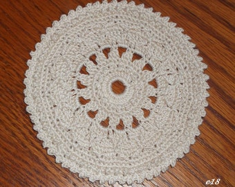Crocheted Ecru-Color Doily (e18)