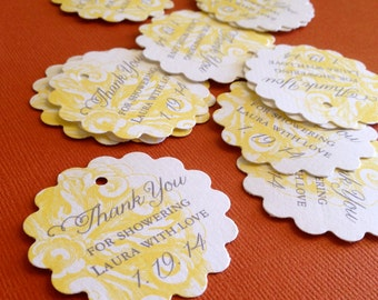 Wedding Party Favor Tags, yellow elegant tags, gift tags, personalized favor tags, wedding, bridal shower