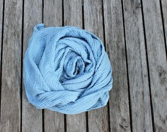 lightweight organic cotton gauze scarf - Ice blue