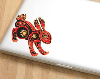 Red Rabbit Vinyl Decal | Laptop macbook yeti iphone car window tablet 1970s art indian art computer sticker free shipping