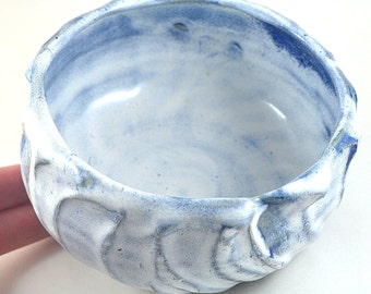 Ceramic Bowl Textured Baby Blue and White Stoneware Unique Handmade Pottery - Home Cooking - Baking Dish - Fruit Bowl - Serving Dish