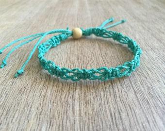 SoBe, Hemp Anklet, Braided Anklet, Macrame Anklet, Surfer Anklet, Hemp Bracelet, Beach Anklets, Macrame Bracelet, Turquoise HA001026