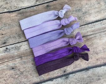 Set of 6 purple elastic hair ties - hair ties, ponytail holders, no crease hair ties, hair bows, hair accessories, yoga hair ties, bows